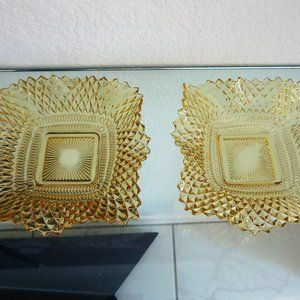 Set 2 Vintage Gold Cut Glass Dishes Bowls